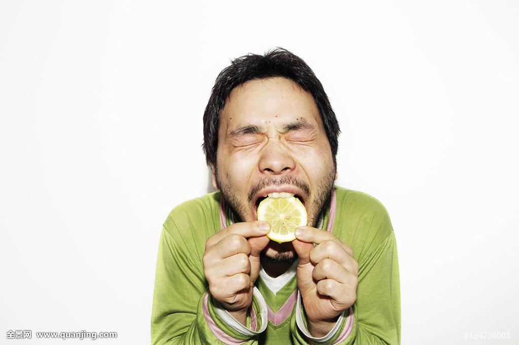 亚洲人,咬,黑发,柠檬,柑橘,水果,闭眼,抠像,深色头发,光盘,吃,表情图片