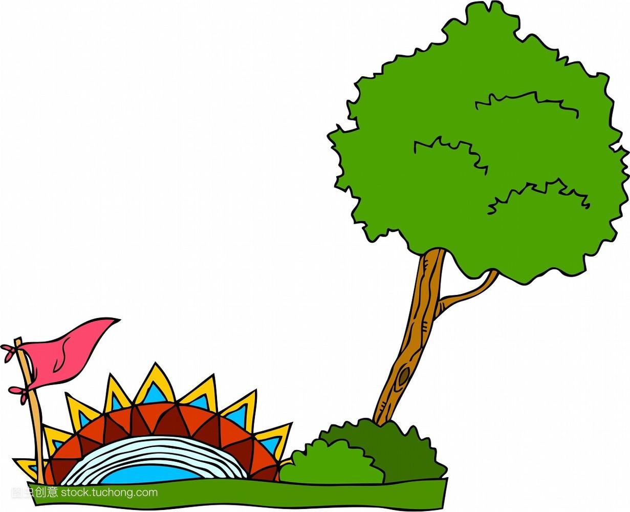 灌木,图标,剪贴画,旗帜,树,桥梁,插画,布什,矢量图,植物,日光图片