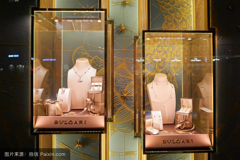 欧洲,金色的,瑞士,金,宝格丽,设计,商业的,零售,宝石,消费主义,显示图片