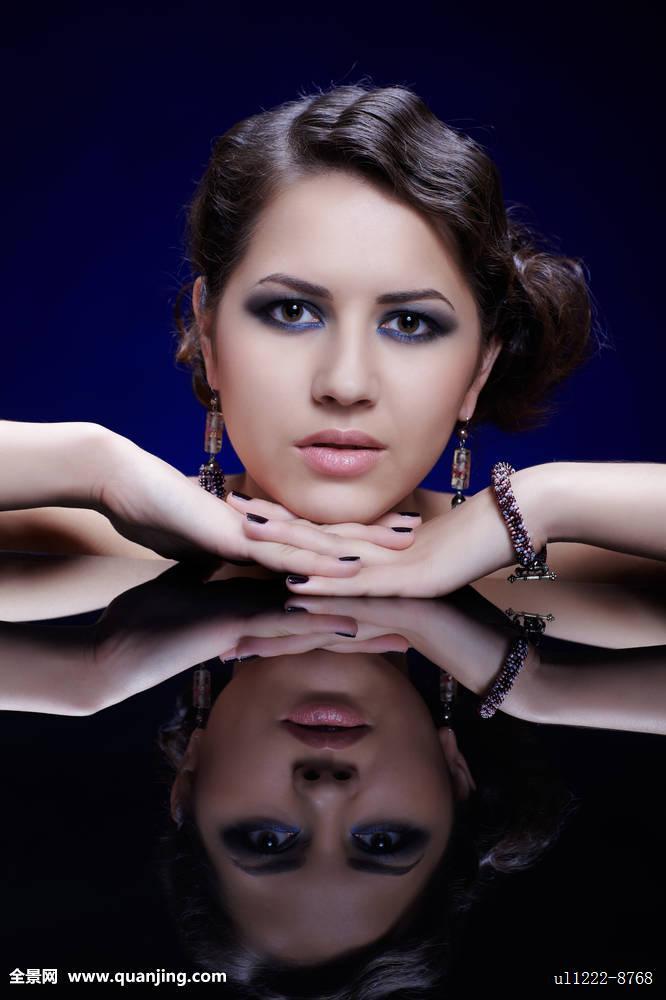 优雅,欧洲,脸,时尚,女性,迷人,头发,发型,女士,生活方式,化妆,模特,人图片