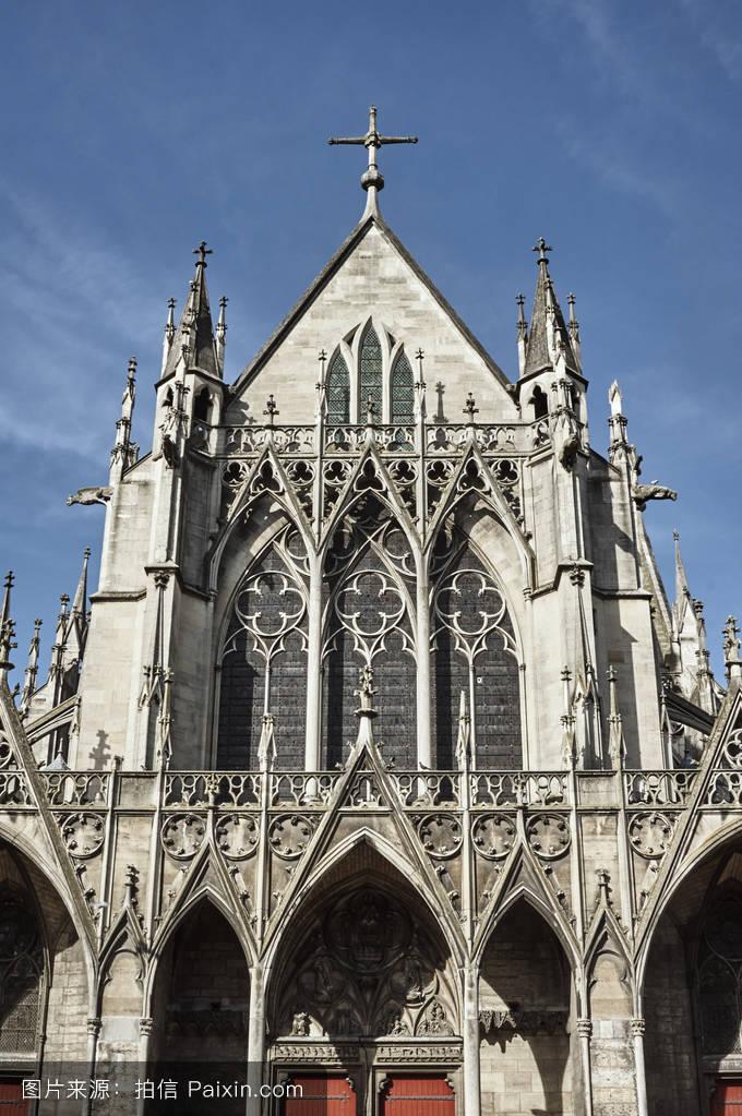 天空,欧洲,外观,建筑,中世纪,城市,教堂,哥特式,大教堂,法国,拱图片