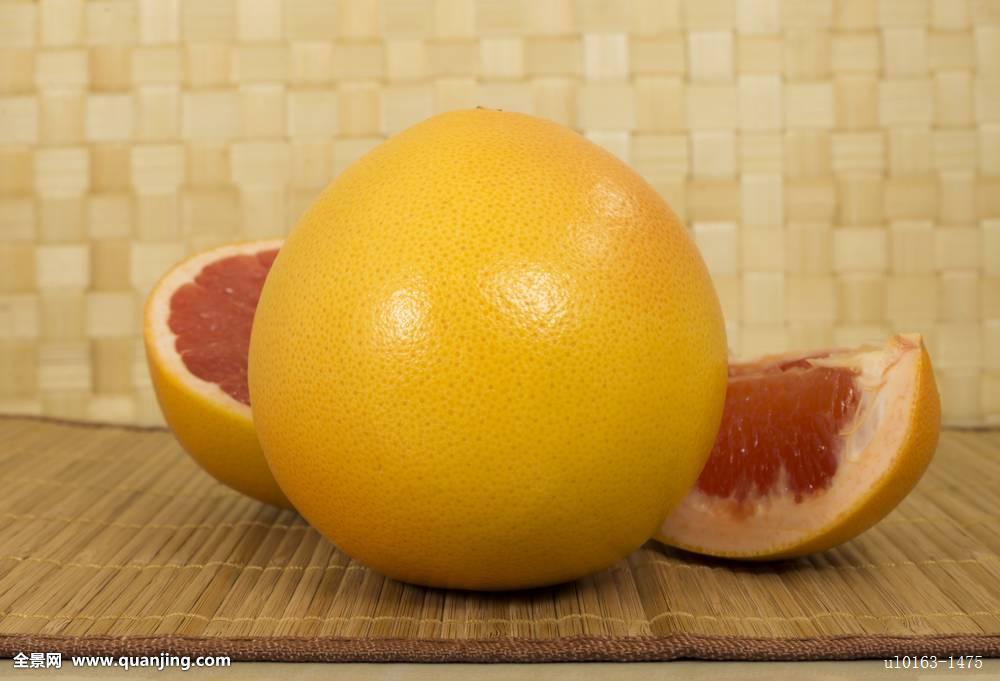 柚子,水果,切片,桌子图片