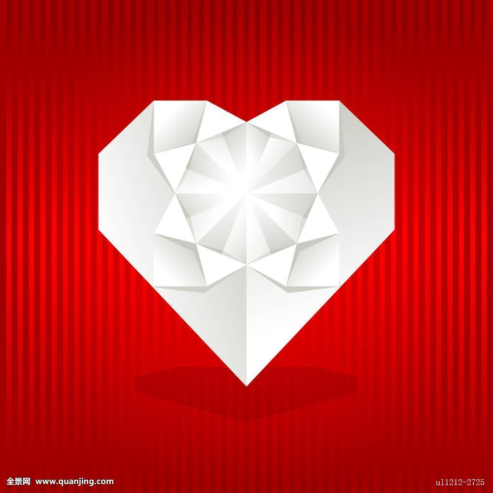 折纸,心形,红色背景图片
