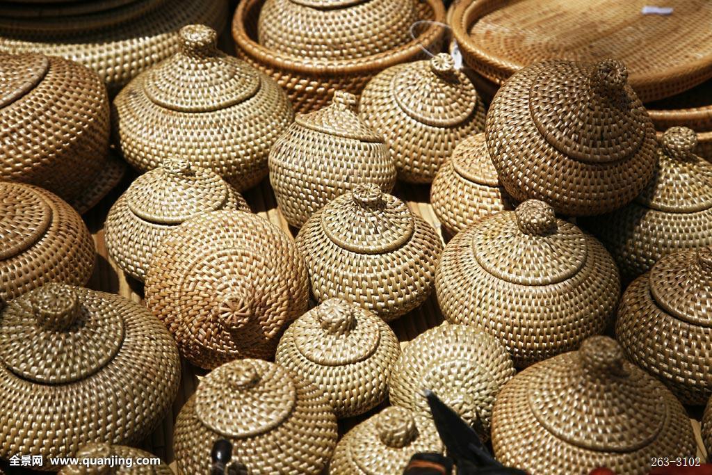 州工艺品_马来西亚沙巴州旅游风光-亚庇市-跳蚤市场工艺品-编织物