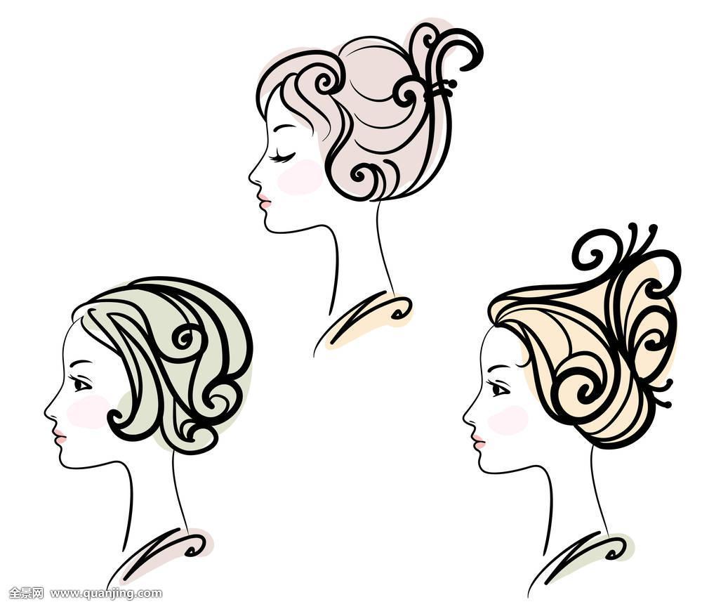 长,模特,人,头像,漂亮,侧面,浪漫,素描,沙龙,洗发水,剪影,风格,纹身图片