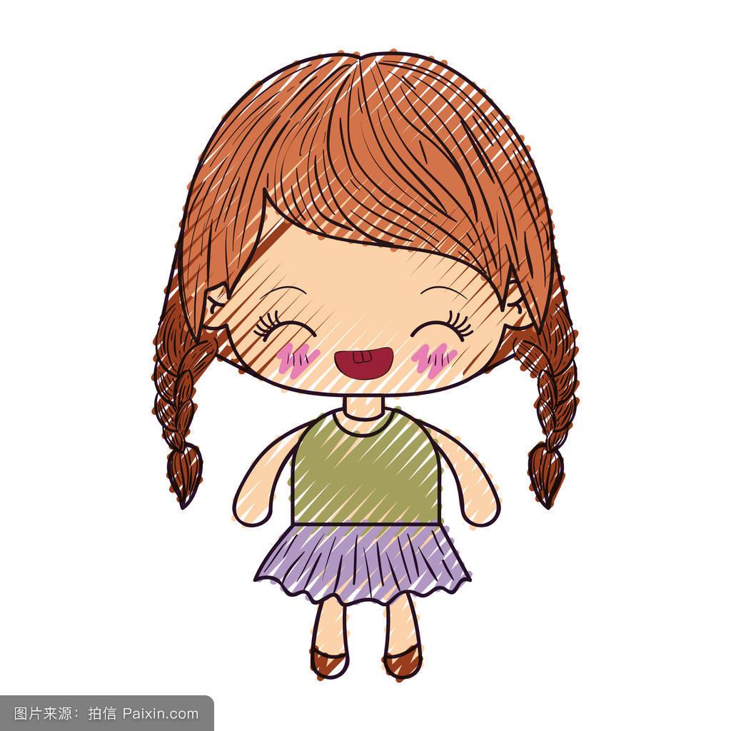 色粉笔轮廓的可爱小女孩辫子的表情笑图片