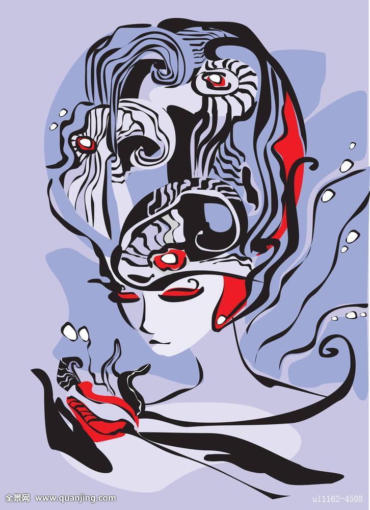 长,头发,魔幻,海洋,美人鱼,女孩,神秘,神话,自然,橙色,装饰,绘画,图案图片