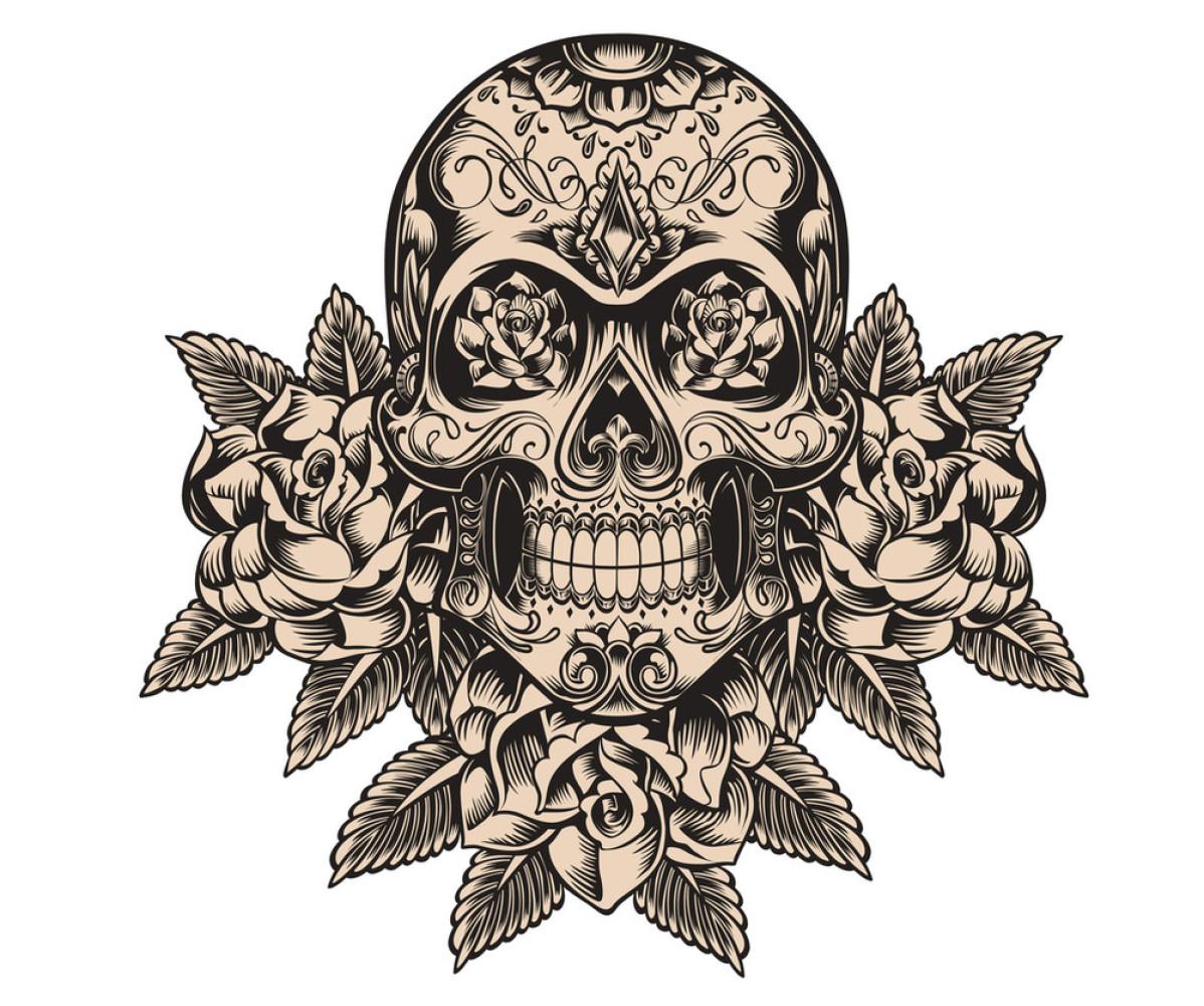 玫瑰,墨西哥,设计,矢量图,死亡,头骨,纹身,邪恶的,艺术,装饰,钻石图片图片