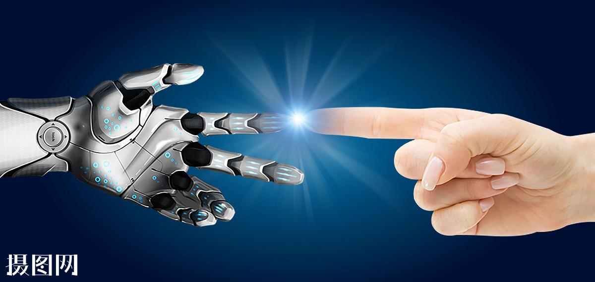 科学,技术,科技,现代,商务,点击,触碰,发光,蓝色背景,科幻,机器人手图片
