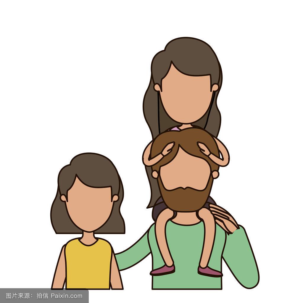 妈妈色爸爸色_五颜六色的漫画,无表情的前视图,半身女,短发女人,背上有个带胡子的