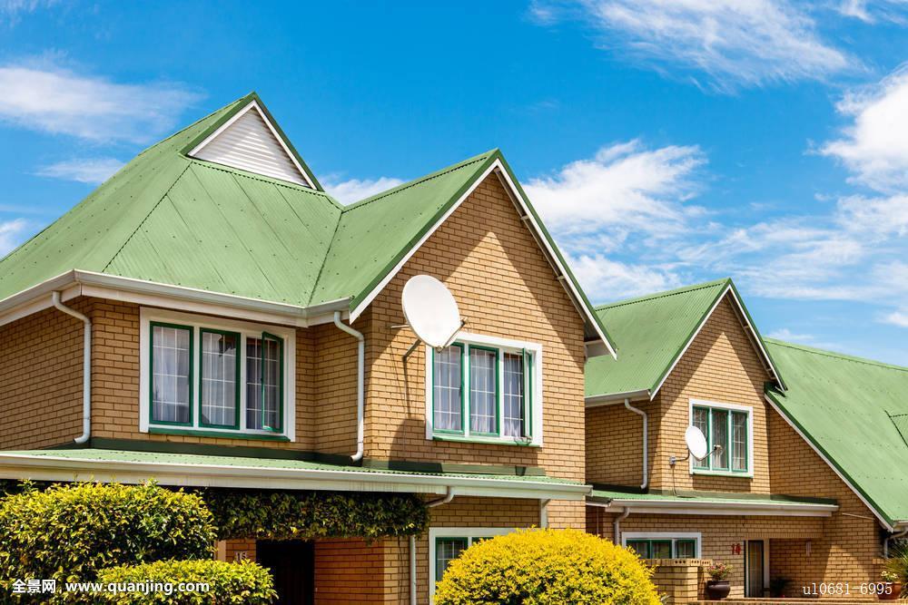 连栋房屋,绿色,屋顶图片
