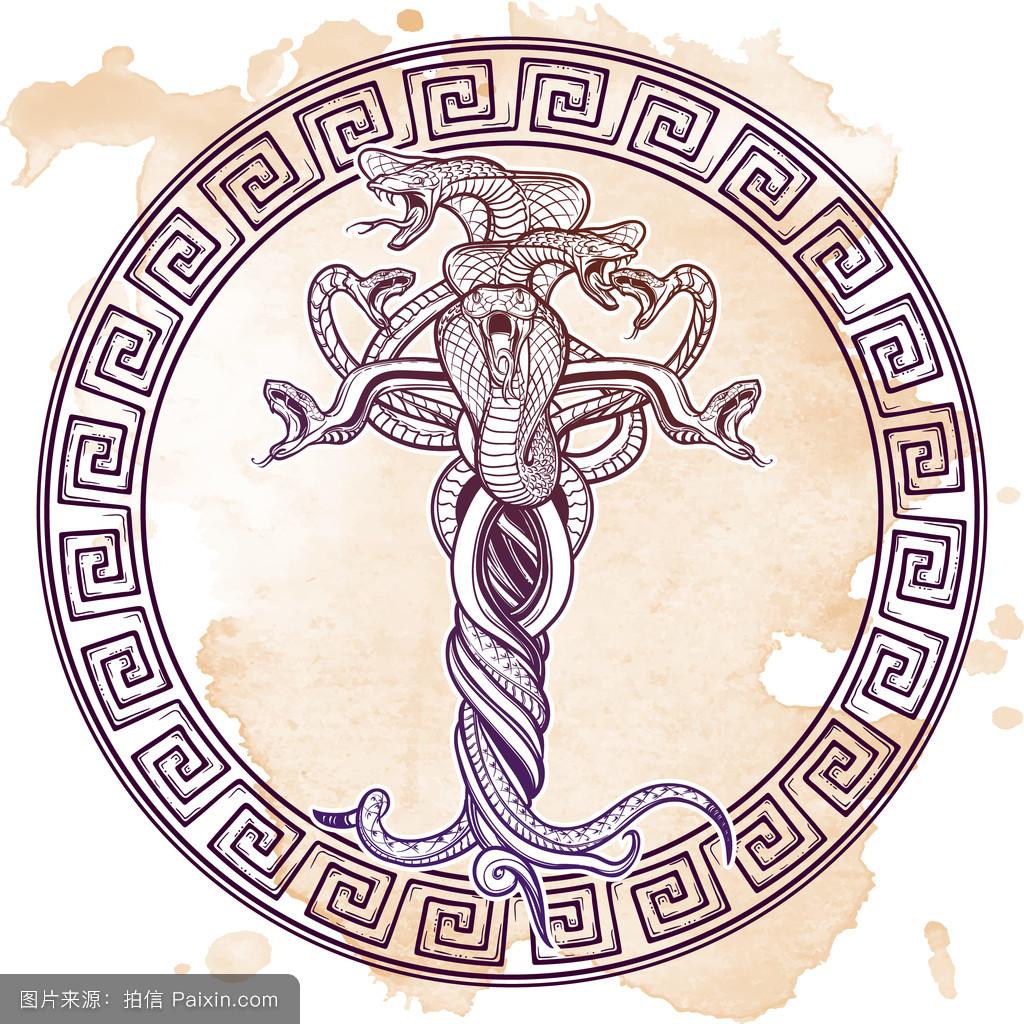 束,神秘的,危险的,哥特式,万圣节,酿造的,撒旦,插图,魔术,巫术,纹身