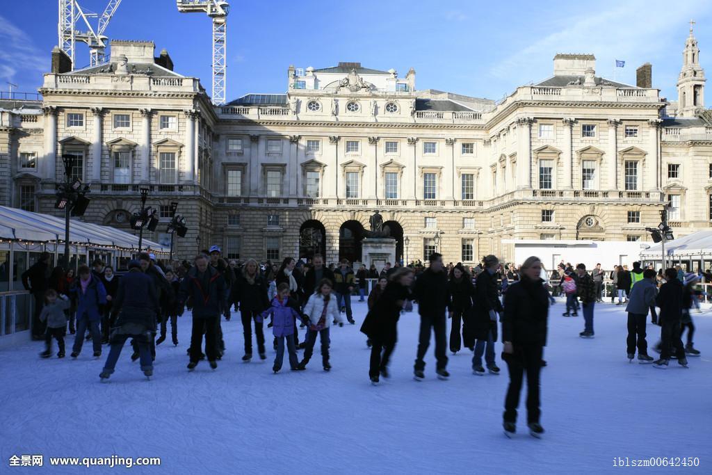 户外,滑冰场,萨默塞特宫,冬天,伦敦,英格兰,英国,欧洲图片