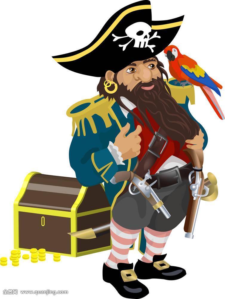 海盗和鹦鹉_黑色,盗版,船长,加勒比,宝箱,硬币,金色,帽子,钩,高兴,钱,鹦鹉,海盗