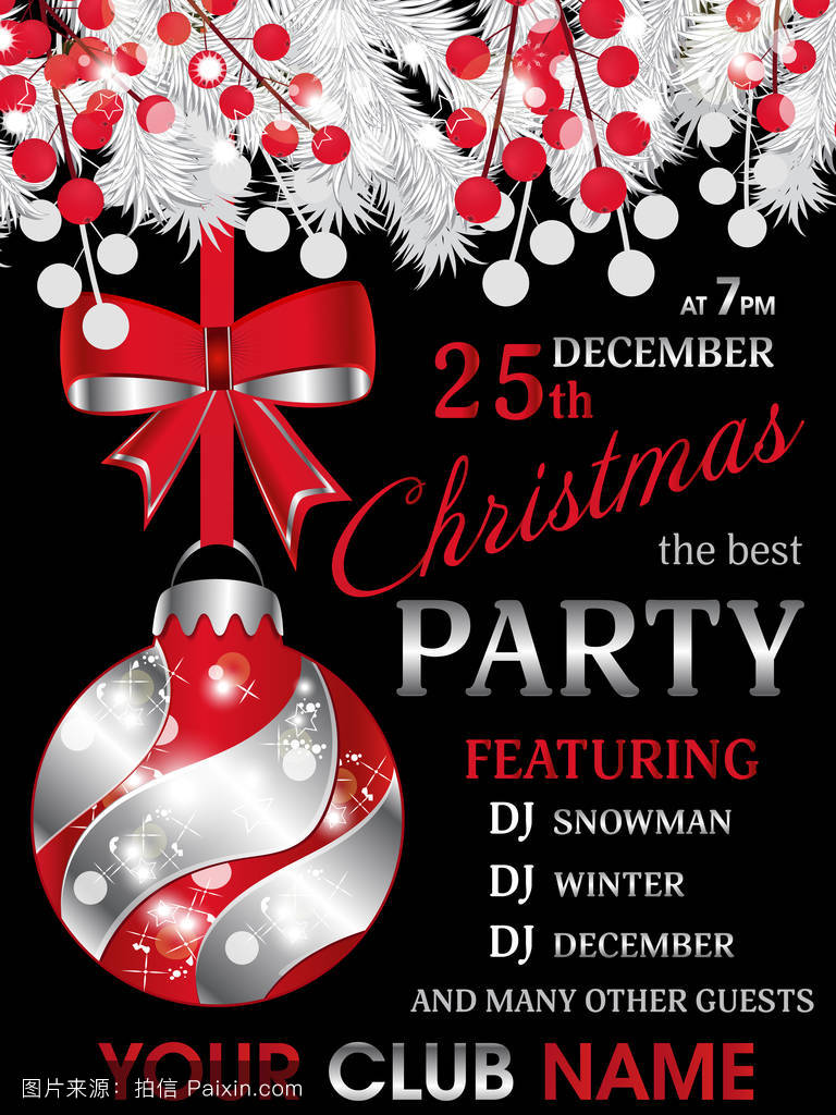 christmas party invitation black template background with white