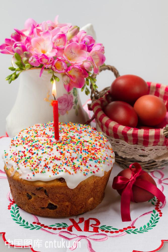 餐后甜点,传统,文化,刺绣,蛋糕,俄罗斯人,复活节,烘,花,华丽的,黄色图片
