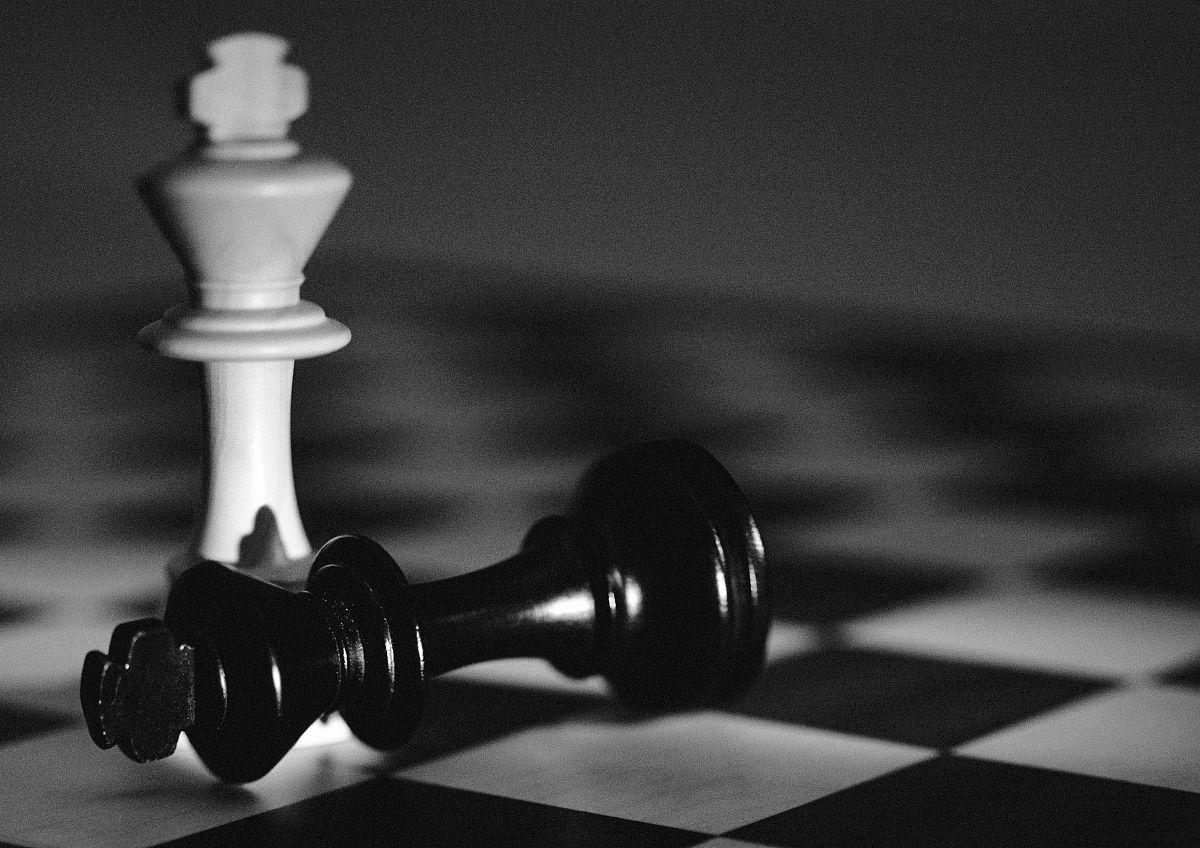 国际象棋棋子,b & w图片