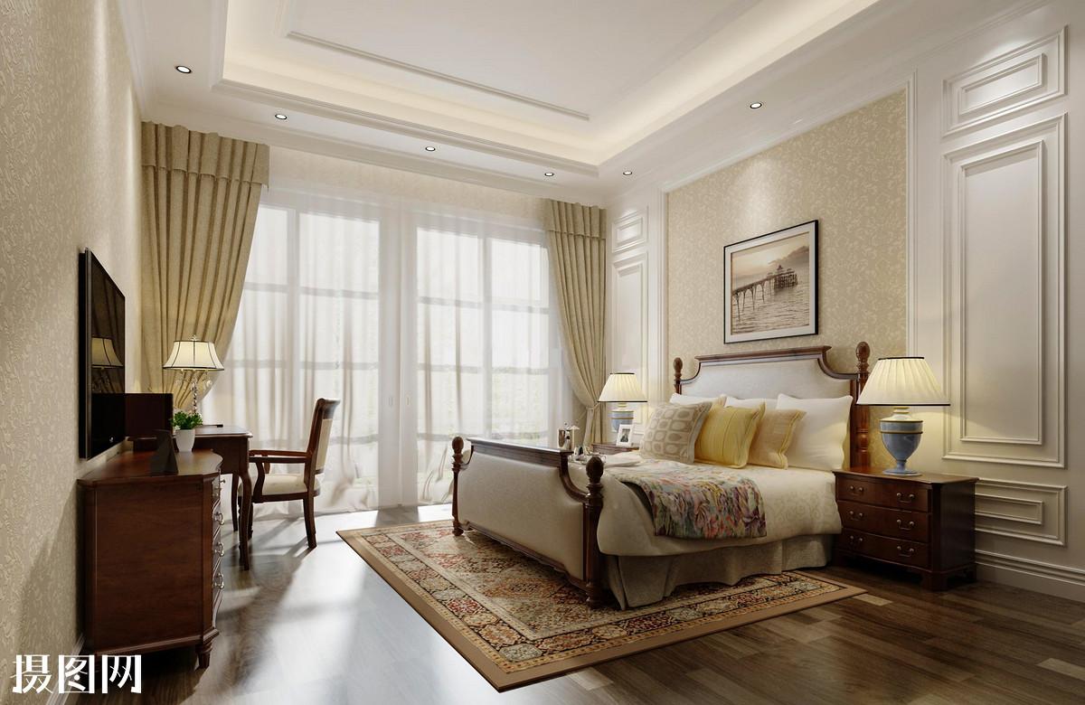 落地窗卧室设计效果图-卧室一点透视手绘图-主卧背影墙装修效果图图片