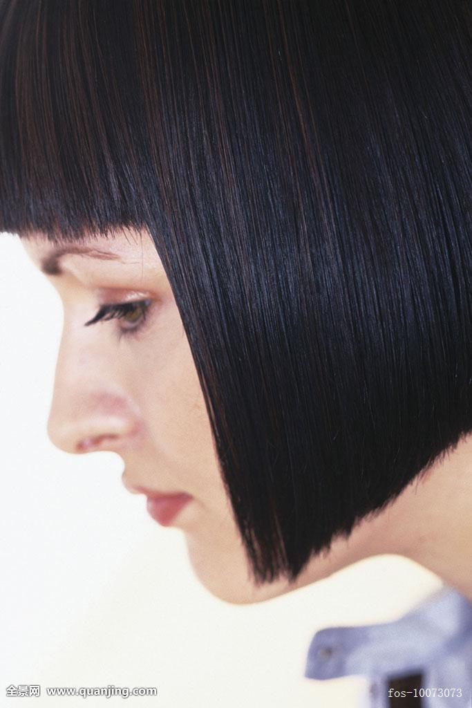 侧面视角,女人,切削,短发,暗色,平滑,头发图片