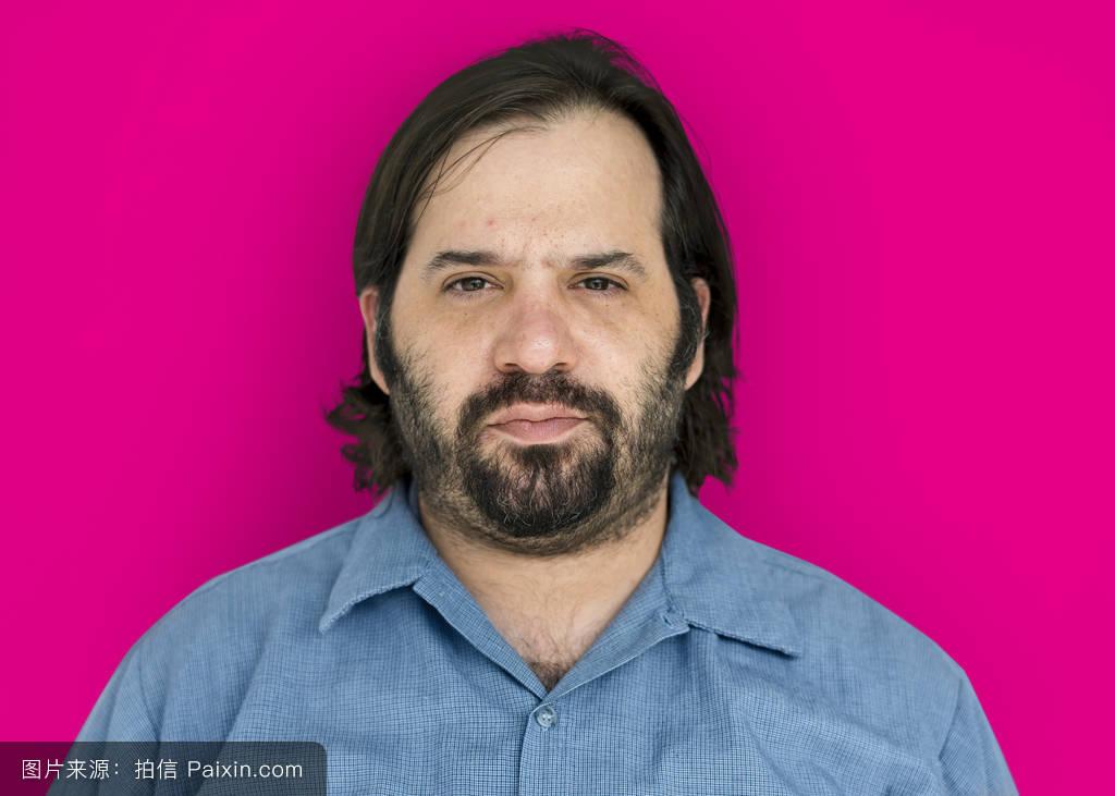 鬓角白�y�+�.�9.b9c��f�_男性的,单独地,情感的,粉红色,面对,鬓角,分离,成熟,胡须,随便的