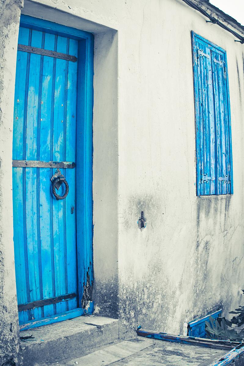 城市美希腊旅行岛门窗户蓝色欧洲房屋度假古老的旅游