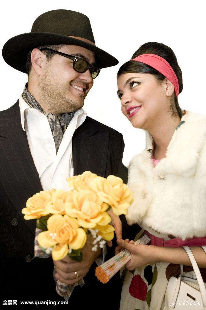 兴奋,愉悦,满意,帽子,发带,拿着,丈夫,生活方式,对视,并排,微笑,表情图片