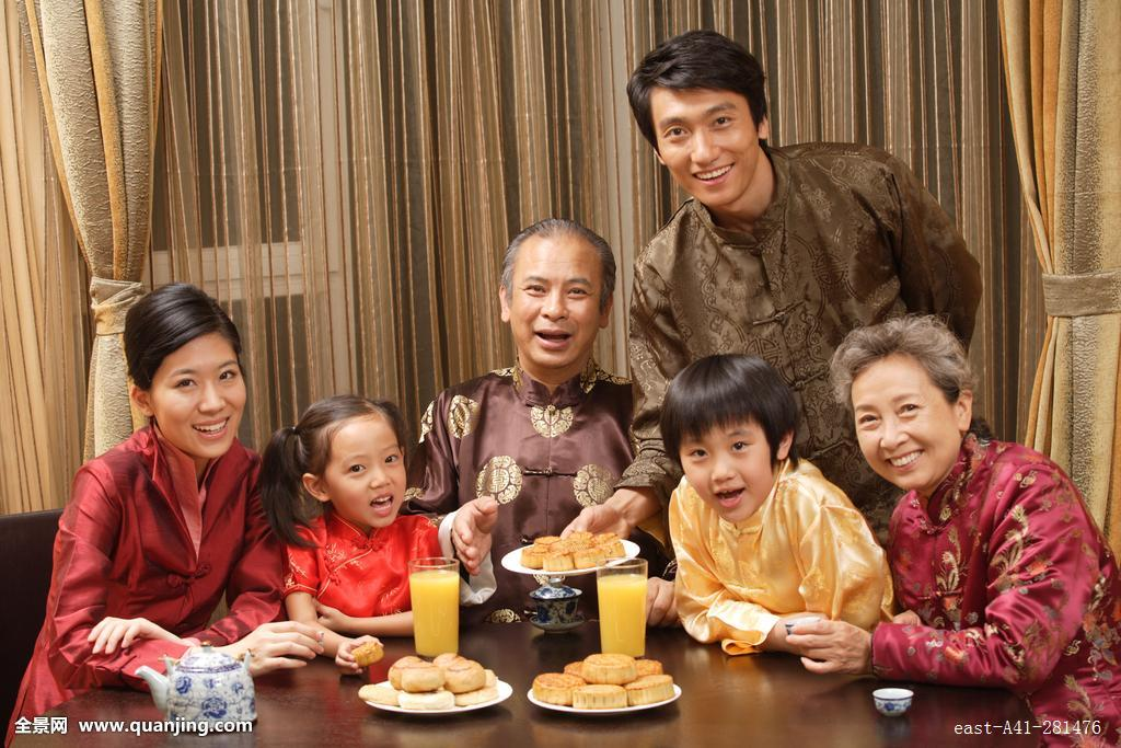 家庭,温馨家园,月饼,饮食,节日,团圆,中秋节,全家福,传统服装,中式图片