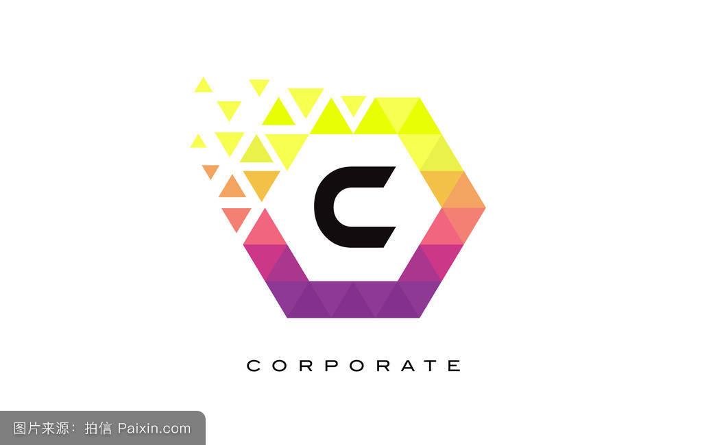 彩色六边形字母标志设计.图片