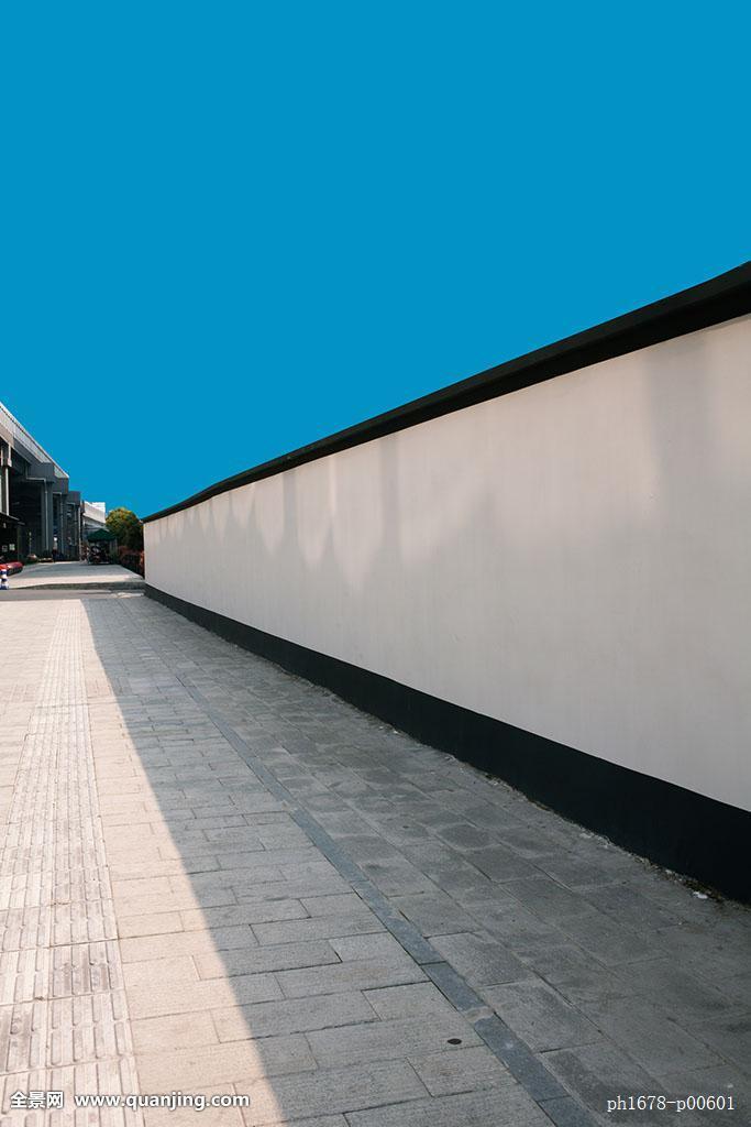 无人,全景,户外,中国,亚洲,后期合成,蓝天,中式围墙,中式建筑,人行道图片