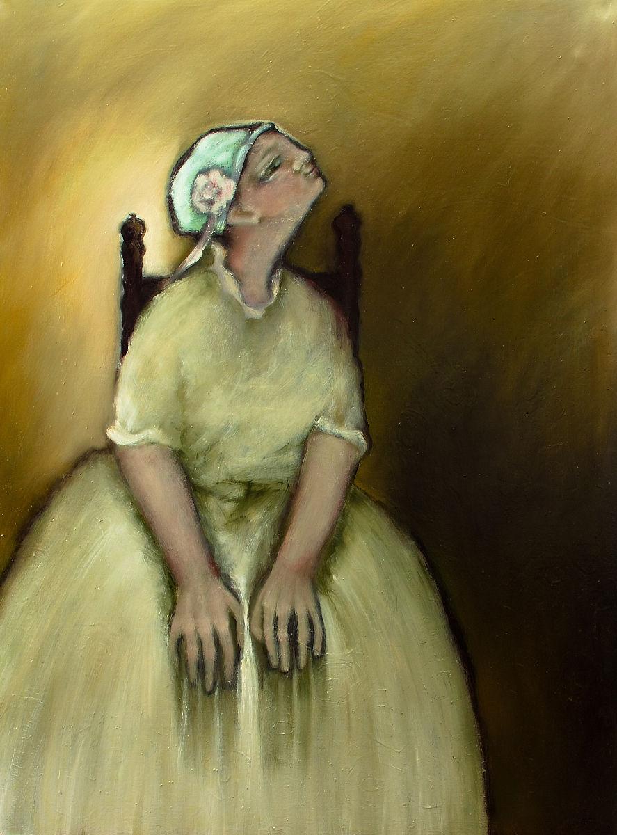 一个人正装仅一朵花女人自然美青年女人仅一个青年女人油画