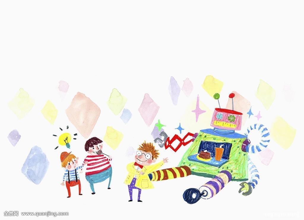 棒棒糖,发明家,背景,糖果,孩子,概念,眼镜,食物,插画,玩具,电灯泡,小图片