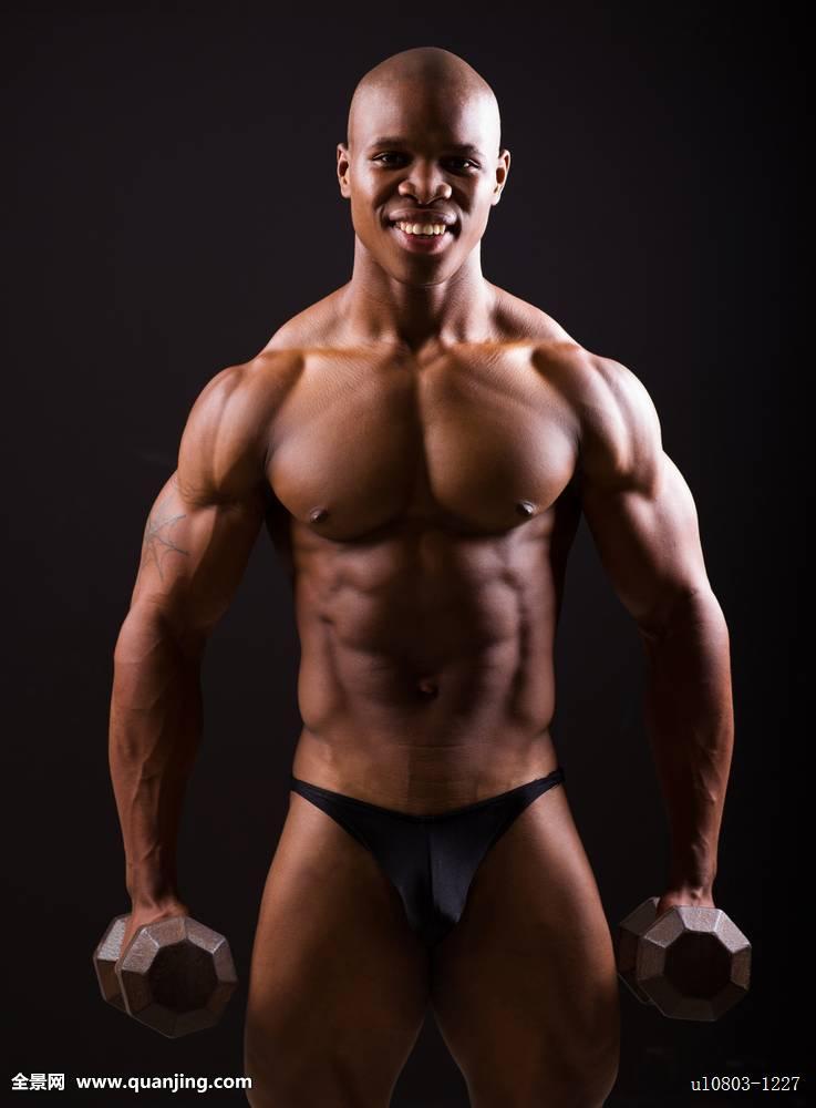 肌肉_男人,健身,锻炼,哑铃,训练,肌肉,非洲,健身房,健壮,重量,人,练习