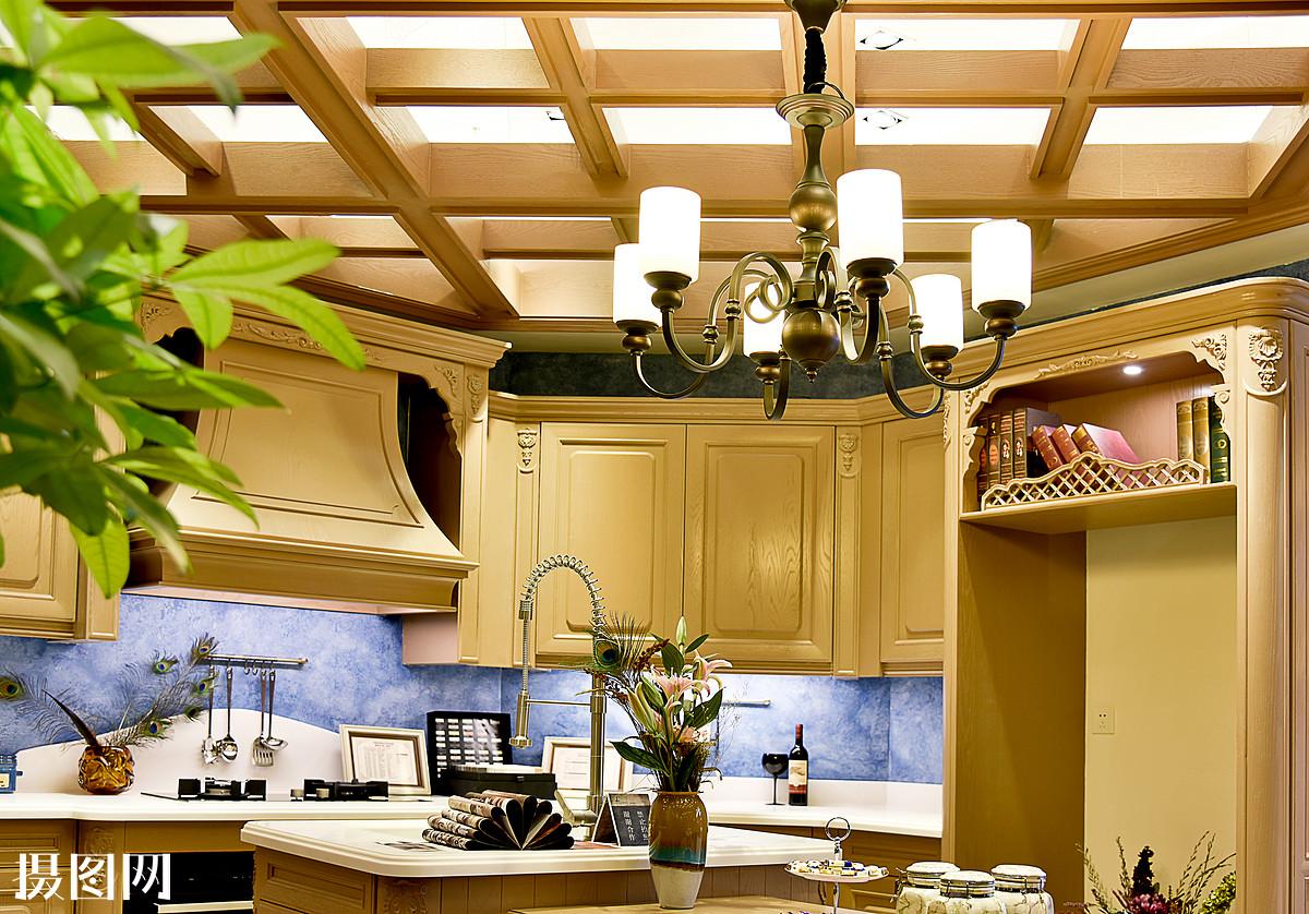 现代简约简欧式家装家居家具厨房客厅柜子吊顶 吊灯盆栽餐桌图片