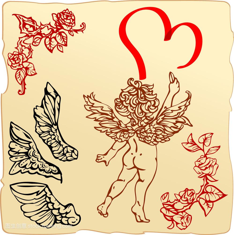 神圣,情侣,愉快,心形,快乐童年,情人节,矢量图,约会,时期,玫瑰,礼物图片
