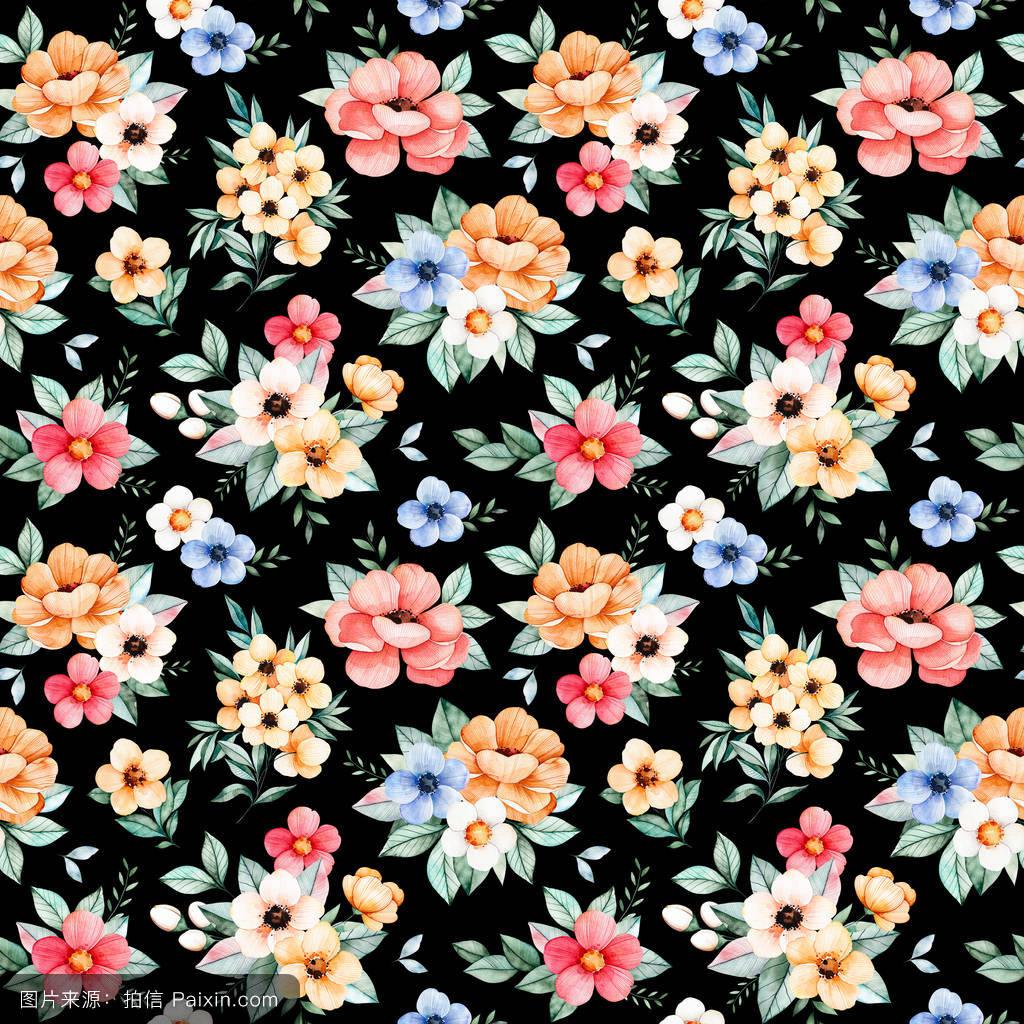 开花,绘画,卡片,元素,无缝管,可爱的,多色,白色,颜色,水彩画,剪贴画图片