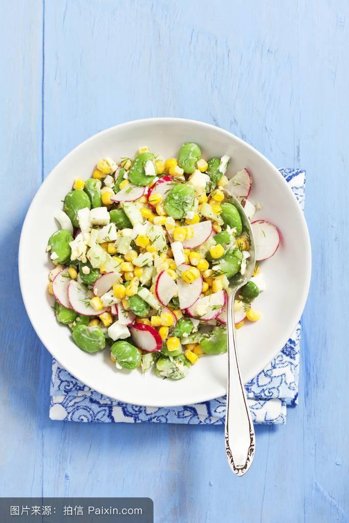 瓜类,俯视图,直接在上面,青,脉冲,明亮的蓝色,蔬菜沙拉,沙拉,素菜,前图片
