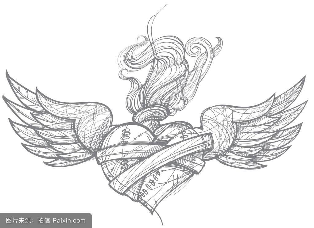 纹身手稿图案大全翅膀分享展示图片
