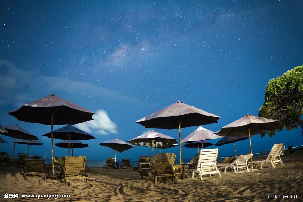 星空,海滩,蓝天,太阳,床图片