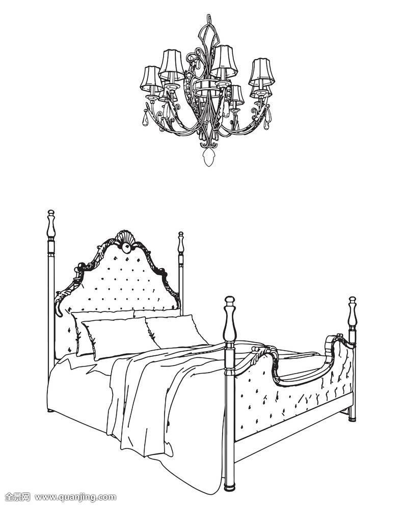 床,卧室,黑色,吊灯,装饰,设计,时尚,家具,家,插画,室内,生活方式图片
