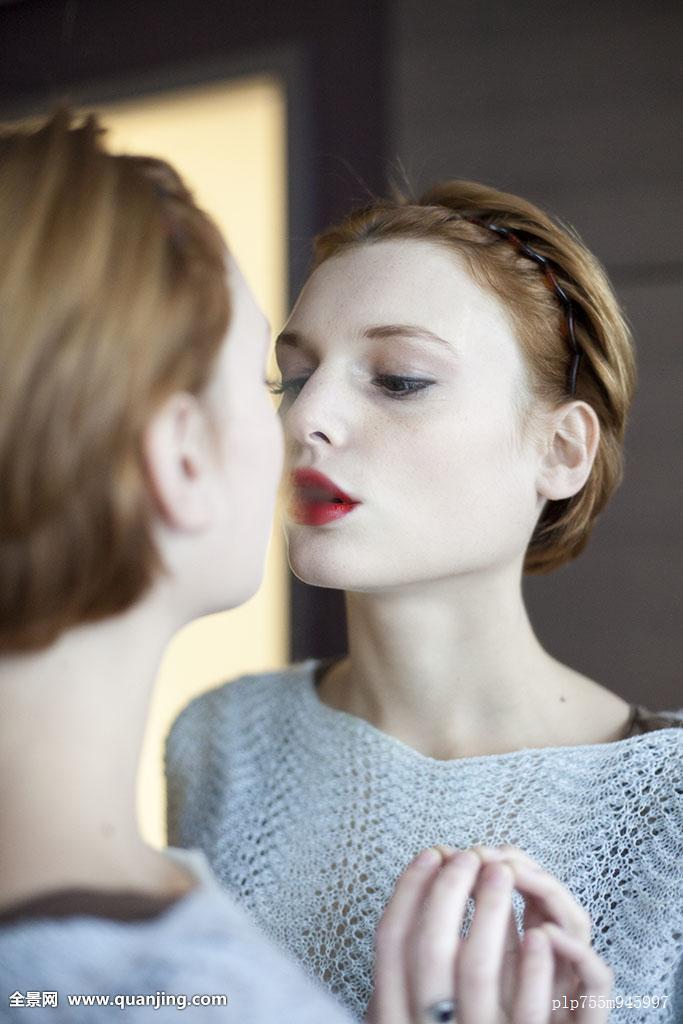 呼吸,白人,绳,化妆,对眼,一对,女性,关注,瞥,发型,雾气,独特,吻,编织