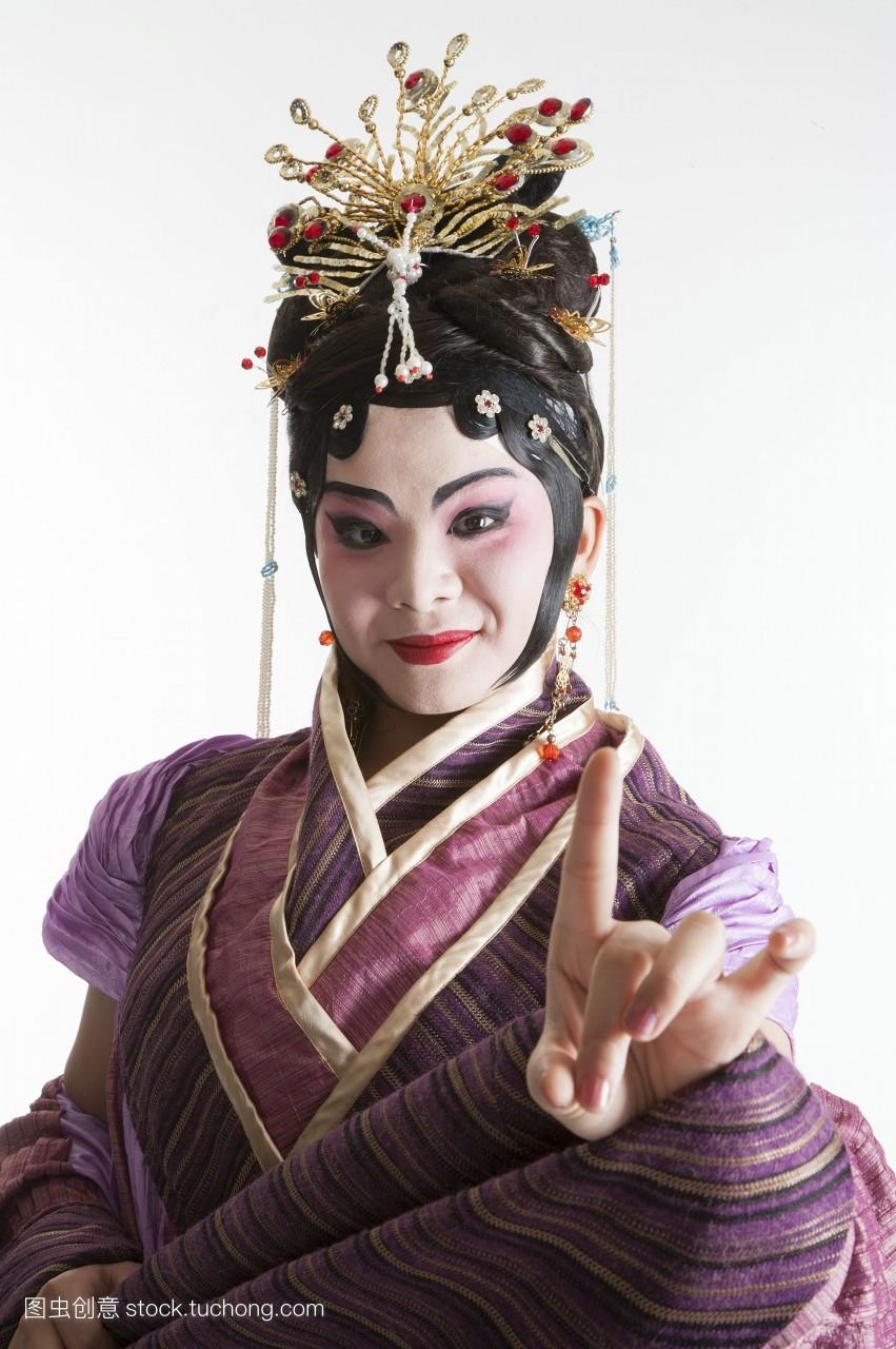 彩图,女人,只有女人,只有成人,戏服,脸谱,假发,头饰,古装,艺术,舞台妆图片