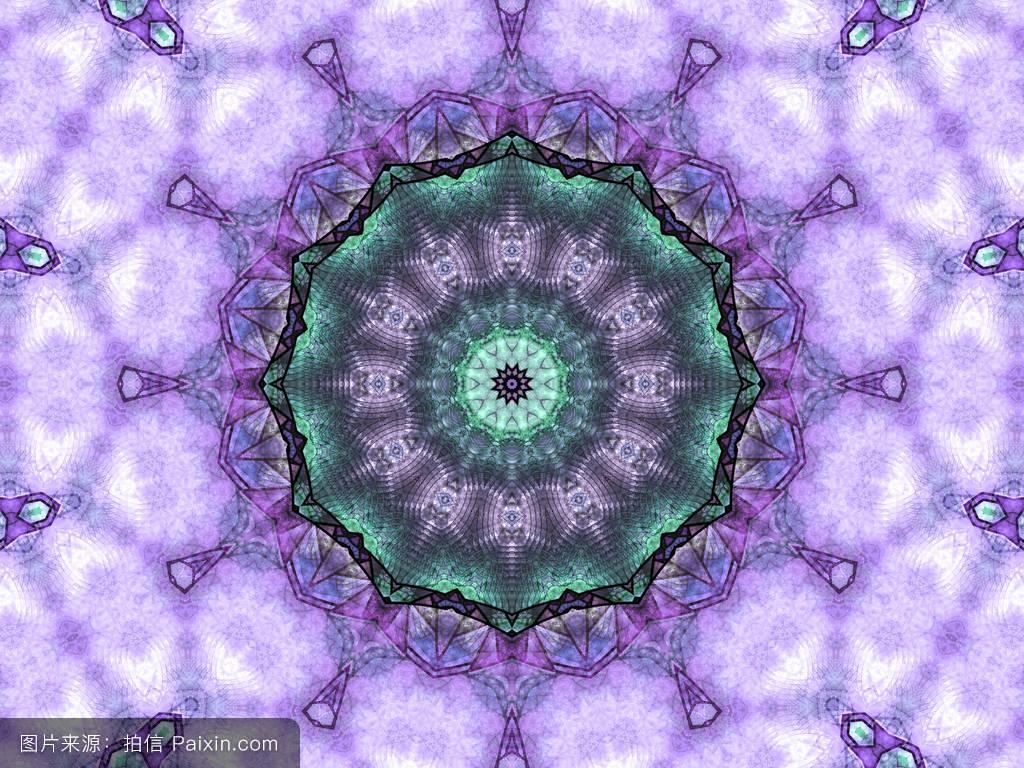 无缝紫色分形曼荼罗,数字图形创意图形设计图片