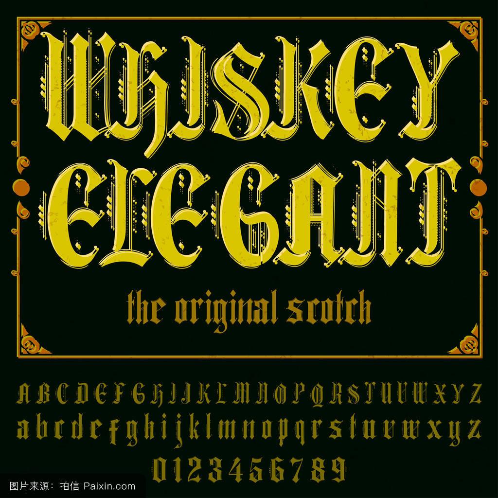 字体字体威士忌优雅的古董字体字体标签和任何类型的设计矢量字体.图片