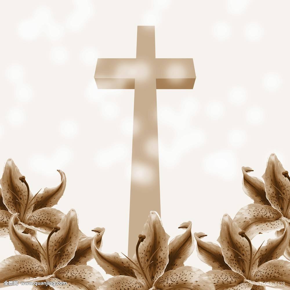 基督教,十字架,百合,花图片图片