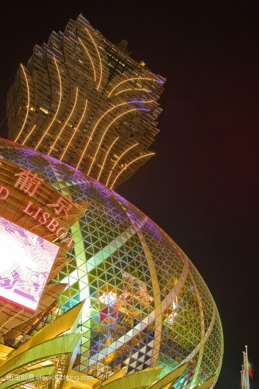澳门夜景风光旅游中国中国的亚洲东亚新葡京酒店葡京酒店