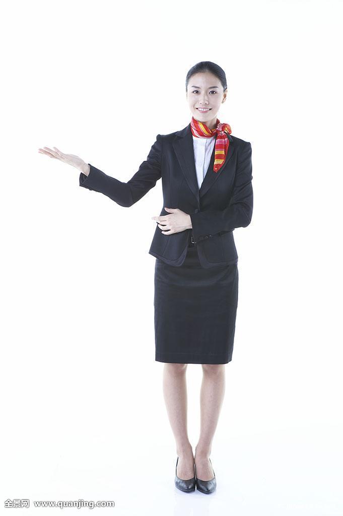 一个,白色背景,亚洲人,微笑,人,介绍,围巾,空乘人员,女性,全身,美女图片