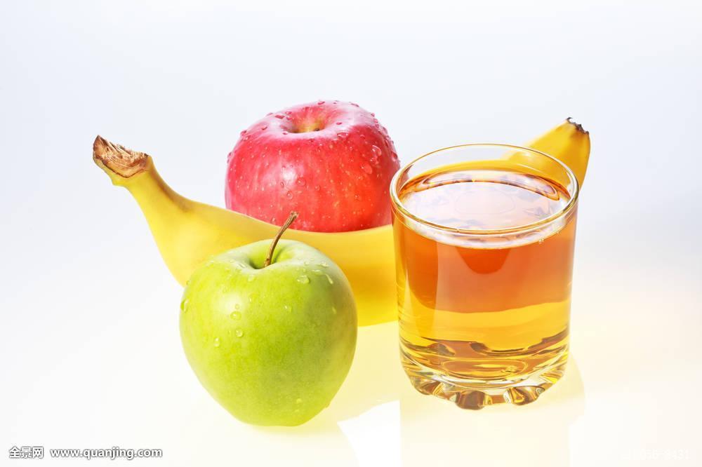 苹果奇异果汁_香蕉,绿色,红苹果,玻璃杯,果汁