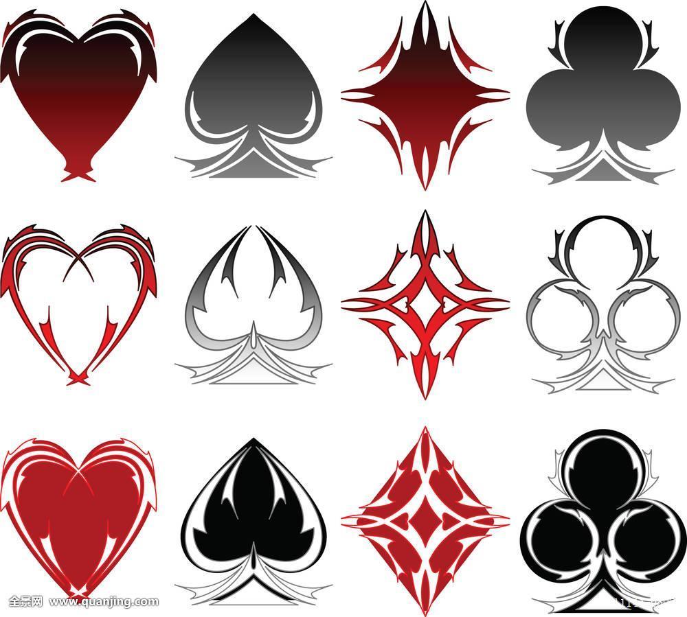 纸牌,套装,心形,黑桃,赌博,部族,纹身,设计,象征,赌徒,赌场,拉斯维