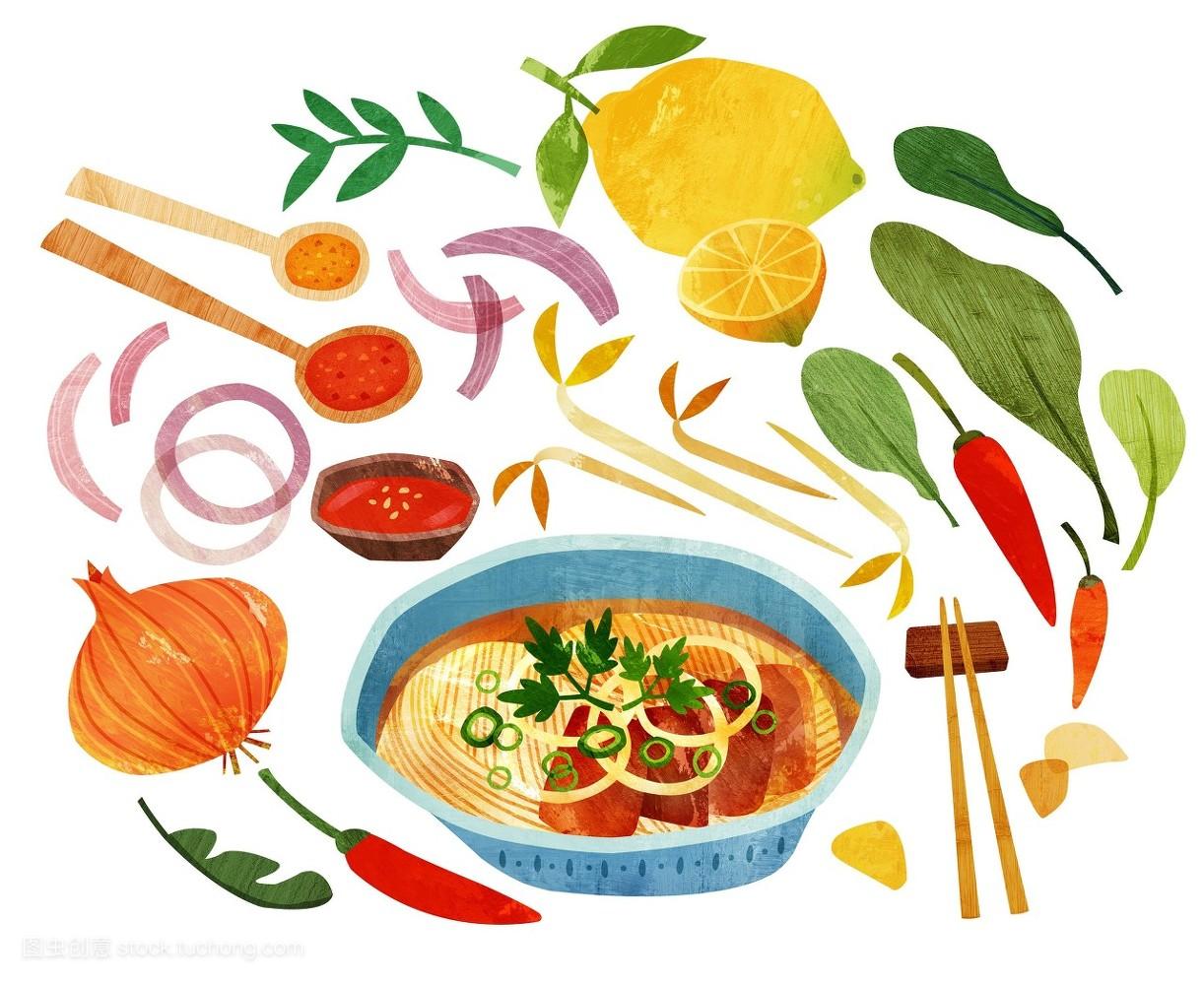 食品�zl�9��9�+_漫画插图,插画,碗,食品,烹调,面条,洋葱,汤匙,盘子,越南,物体,餐