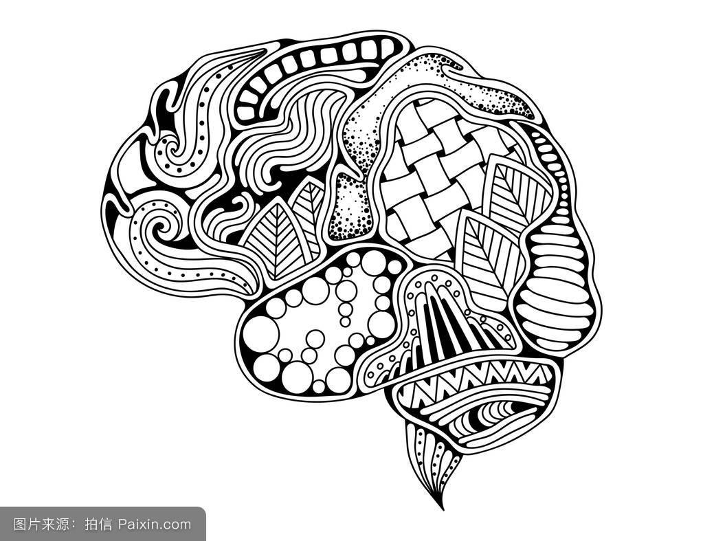 人脑涂鸦装饰曲线,创意思维,学习图片